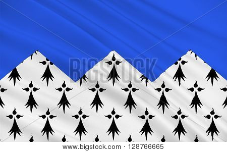 Flag of Cotes Armor formerly named Cotes-du-Nord is a department in the north of Brittany in northwestern France.