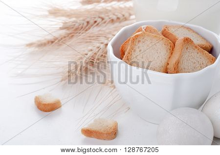 Crouton Stack In A Porcelain Bowl