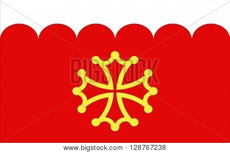 Flag of Gard is a department in southern France in the Languedoc-Roussillon-Midi-Pyrenees region.