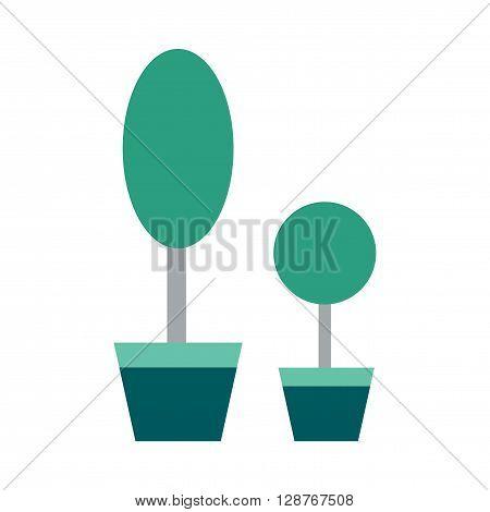 Flat web icon on  white background houseplants