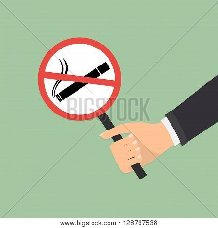 Human hand with no smoking on green background. Vector illustration flat design World No Tobacco Day concept.