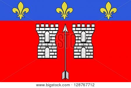 Flag of La Fleche is a town and commune in the French department of Sarthe in the Pays de la Loire region in the Loire Valley.