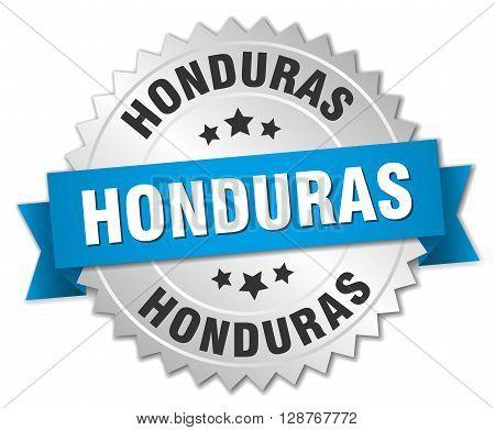 Honduras round silver badge with blue ribbon