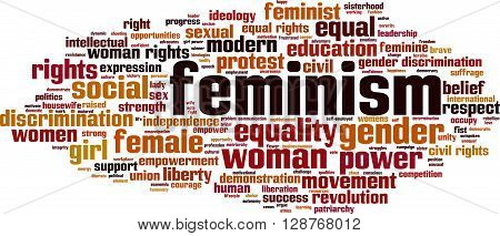 Feminism word cloud concept. Vector illustration on white