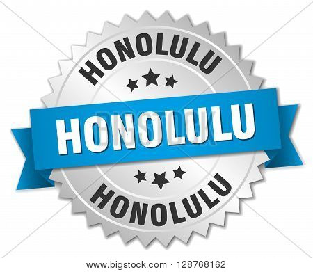 Honolulu round silver badge with blue ribbon
