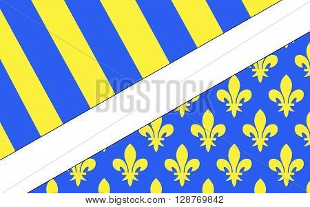 Flag of Oise is a department in the north of France. It is named after the river Oise.