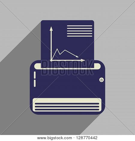 Flat web icon with long shadow  fax machine