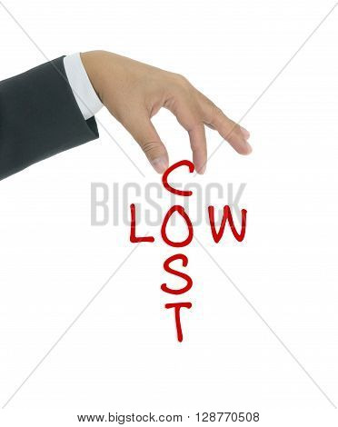 Low cost concept with cross word hold by business man