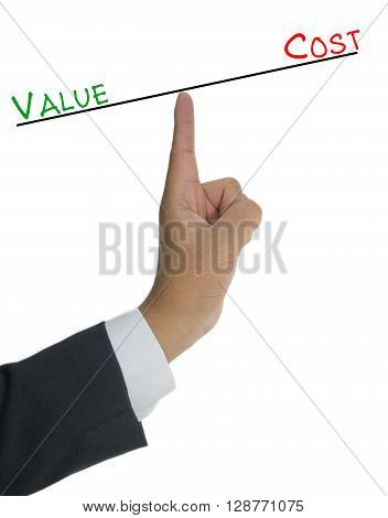 Value vs Cost comparison on finger of business man