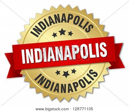 Indianapolis round golden badge with red ribbon