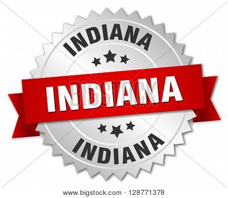 Indiana round silver badge with red ribbon