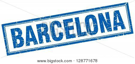 Barcelona Blue Square Grunge Stamp On White