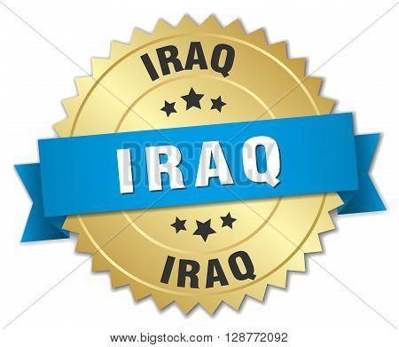 Iraq round golden badge with blue ribbon