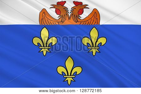 Flag of Versailles is a city in the Yvelines departement in Ile-de-France region renowned worldwide for its chateau the Chateau de Versailles and the gardens of Versailles