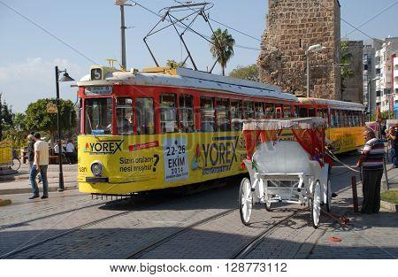 ANTALYA/TURKEY-OCTOBER 18: Antalya Metropolitan Municipality's city tramway on the rail.October 18, 2014-Antalya/Turkey