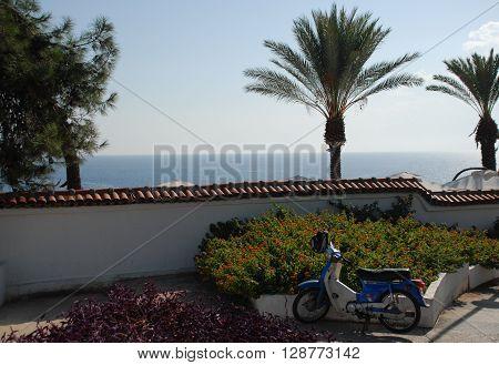 ANTALYA/TURKEY-19 OCTOBER 2014-Motorbike at the coast near the Konyaalti Beach Antalya Province Turkey