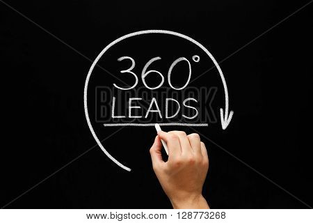 Hand sketching 360 degrees Leads concept with white chalk on blackboard. Lead Generation Business Concept.