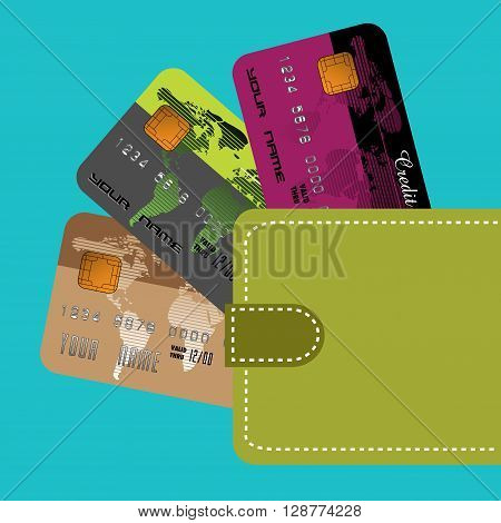 Colorful illustration with green wallet containing three credit cards