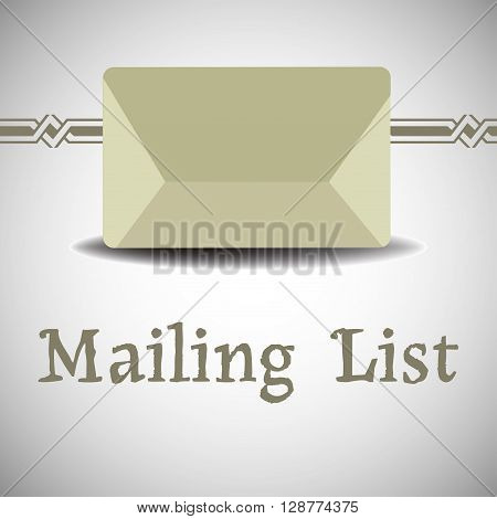 Colorful background with isolated envelope and the text mailing list written below the envelope