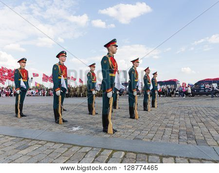 Moscow - May 6 2016: Victory Park on Poklonnaya Hill and 154 soldiers detached commandant regiment Transfiguration May 6 2016 Moscow Russia
