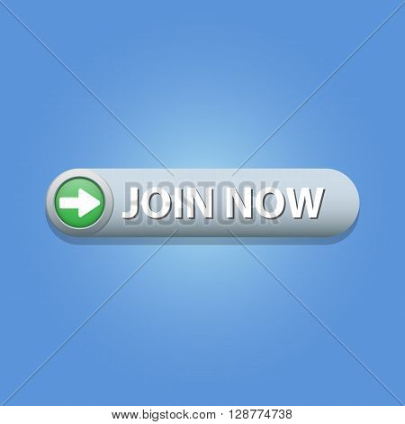 Join Now Button on blue background. Vector illustration.