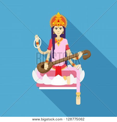 Hindu Goddess Saraswati. Happy Vasant Panchami. Vector flat illustration.