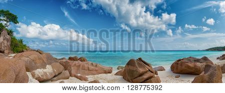 panoramic view of petite anse beach la digue island seychelles