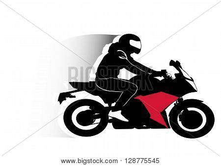 Motorcyclist driving his vehicle - contour illustration silhouette