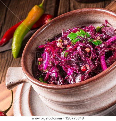 a fresh and tasty spicy red cabbage Sauerkraut
