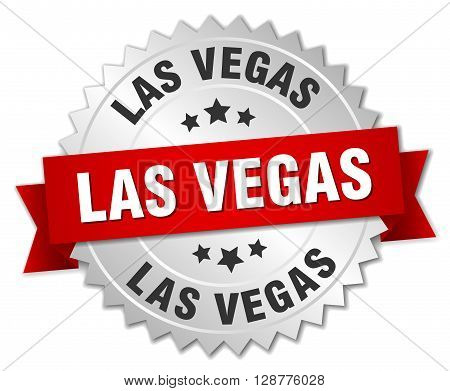 Las Vegas round silver badge with red ribbon