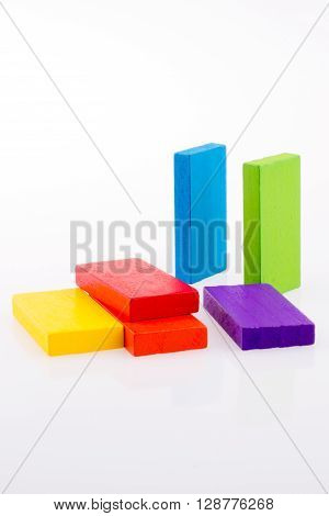 multi color domino on a white background