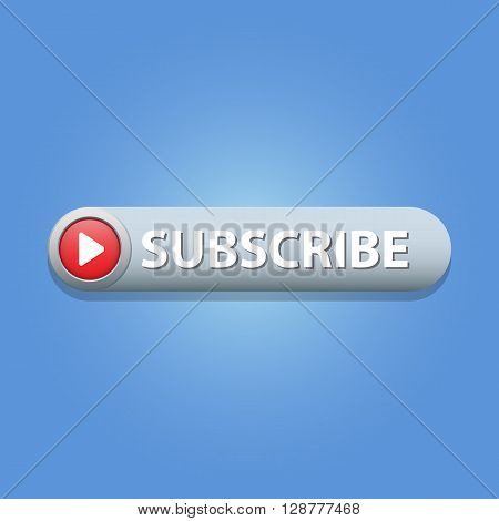 Subscribe Button on blue background. Vector illustration.
