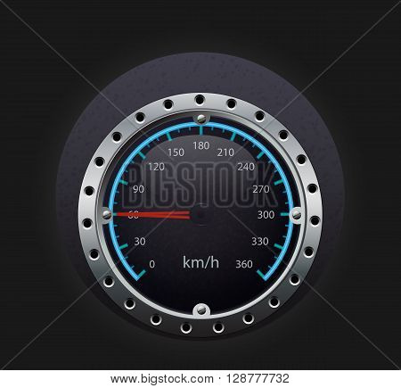 km/h speedometer illustration with glowing indicator and black backgrund