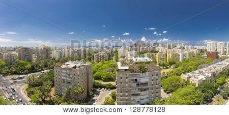 Tel Aviv Cityscape - Ramat Aviv Aerial View At Sunny Day