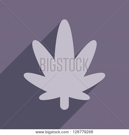 Flat web icon with long  shadow cannabis