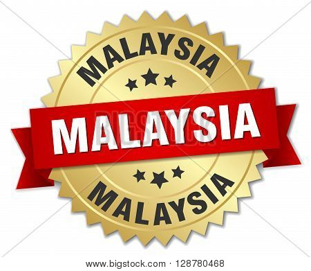 Malaysia round golden badge with red ribbon