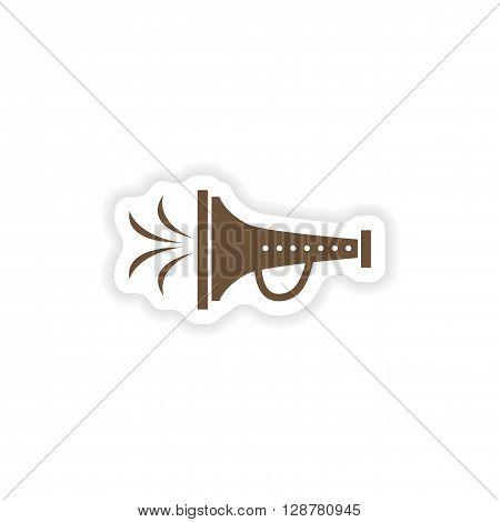 stylish paper sticker on white background mouthpiece