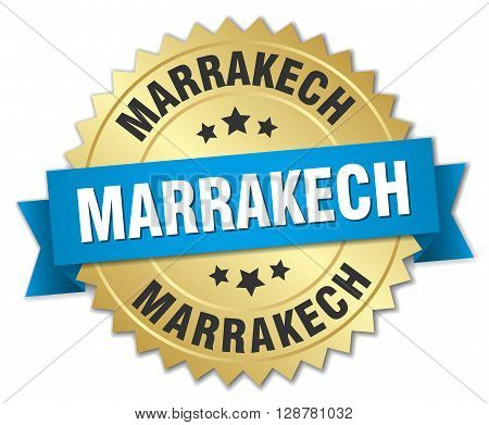 Marrakech round golden badge with blue ribbon