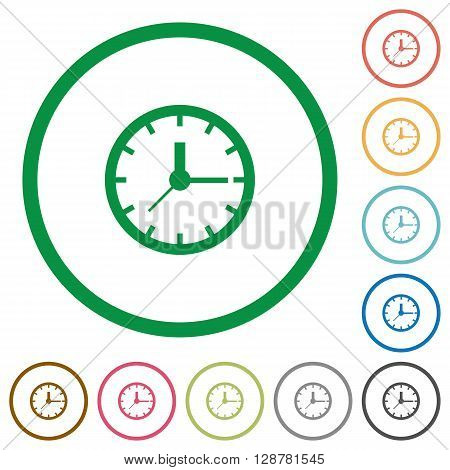 Set of clock color round outlined flat icons on white background