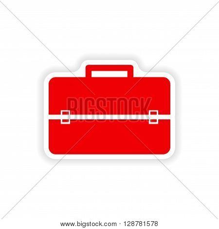 stylish paper sticker on white background business suitcase