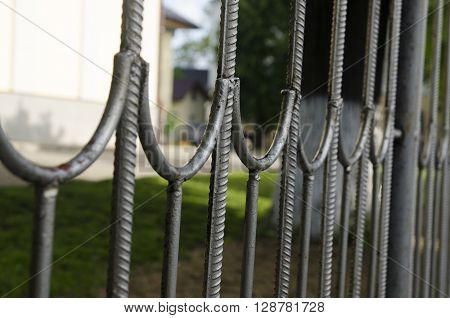 Metal fence background with blurred and focused elements