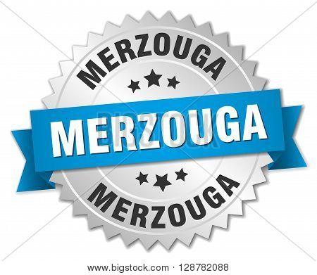 Merzouga round silver badge with blue ribbon
