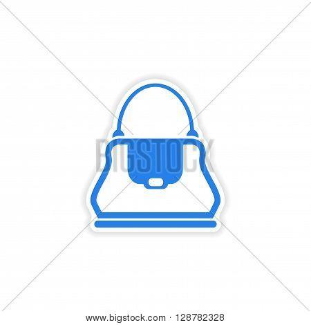 stylish paper sticker on white background ladies handbag