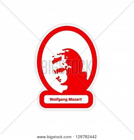 paper sticker on white background Wolfgang Amadeus Mozart