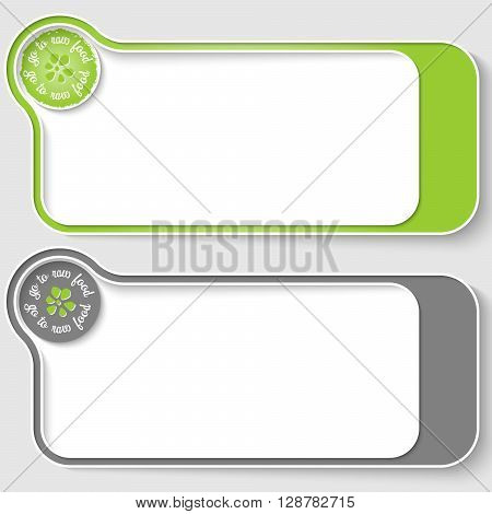 Two vector text boxes for your text and raw food icon
