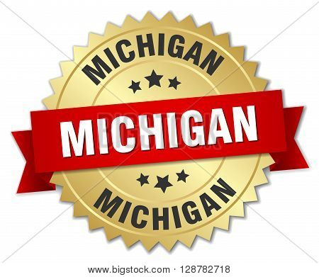 Michigan round golden badge with red ribbon