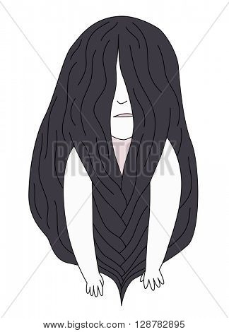 A flat vector cartoon illustration of a brunette girl with long hair breaded in front of face