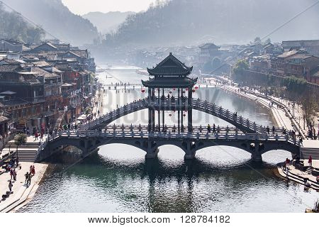 Fenghuang, China - Feb 27, 2016: The Old Town Of Phoenix (fenghuang Ancient Town). The Popular Touri