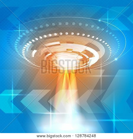 The truth is out there, ufo with light beam in the futuristic sky. Vector illustration.
