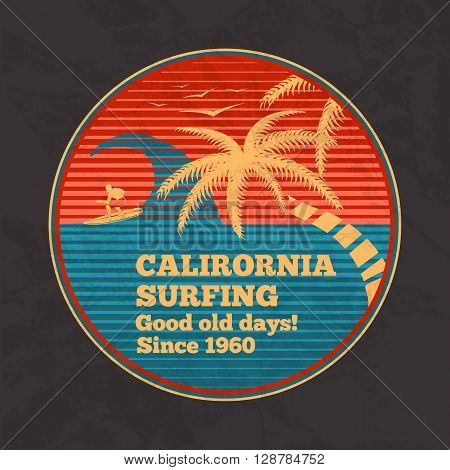 Vector vintage surfing poster - California Surfing, good old days. With palms, birds, wave and silhouette of surfing man. Retro style.